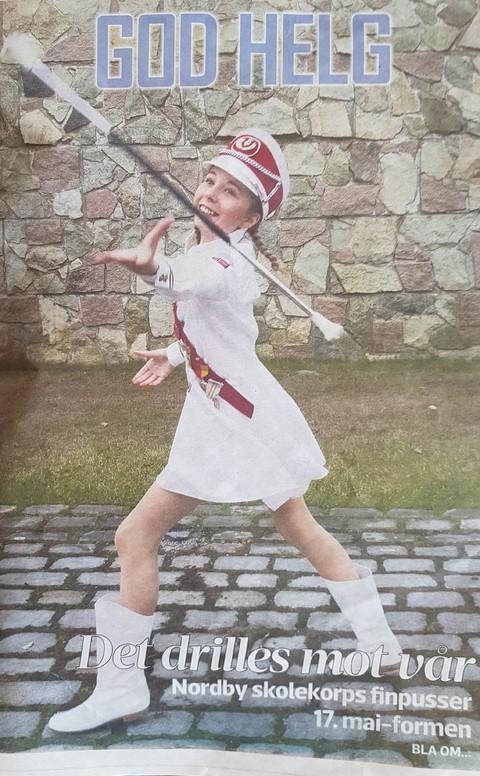 Flott omtale av Nordby skolekorps i ØB: Tuva i flott utfoldelse